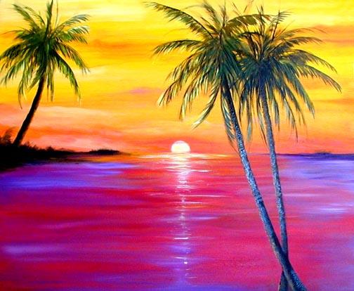 """Мастер-класс по правополушарному рисованию """"Тропический закат"""" 20 июля (четверг) с 19 до 22 часов"""